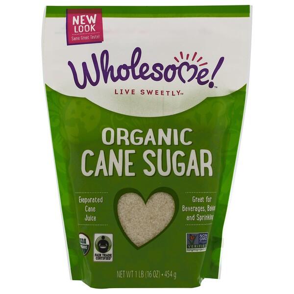 Wholesome, Органический сахар, Выпаренный тростниковый сахар, 16 унций (454 г) (Discontinued Item)