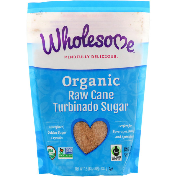 Органический турбинадо, нерафинированный тростниковый сахар, 24 унции (680 г)