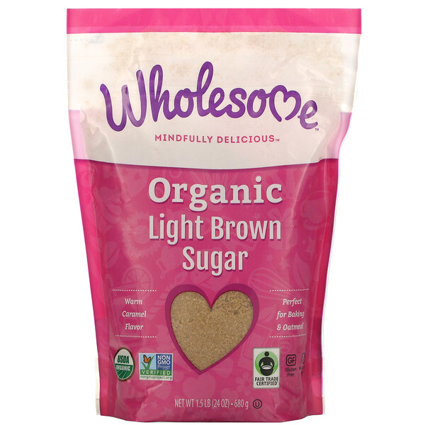 Wholesome, Органический легкий коричневый сахар, 1.5 фунта (680 г)
