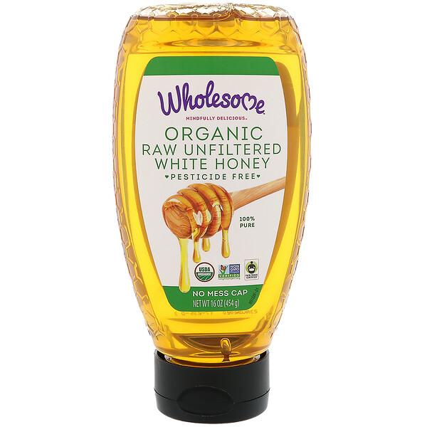 Органический, сырой нефильтрованный белый мед, 454 г
