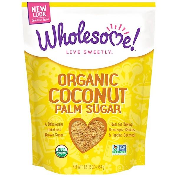 Wholesome , Органический сахар из кокосовой пальмы, 1 фунт (16 унций) — 454 г