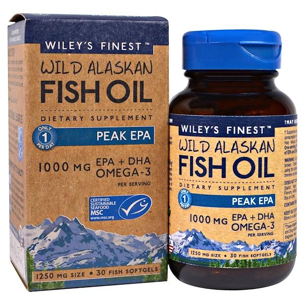 Рыбий жир дикого аляскинского лосося, максимум ЭПК, 1250мг, 30мягких капсул из рыбного желатина