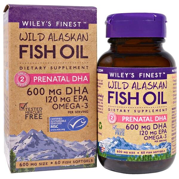 Аляскинский рыбий жир, пренатальная ДГК, 600 мг, 60 рыбных  мягких капсул