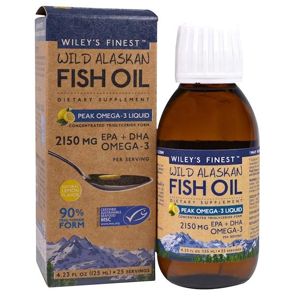 Wild Alaskan Fish Oil, Peak Omega-3 Liquid, Natural Lemon Flavor, 2,150 mg, 4.23 fl oz (125 ml)