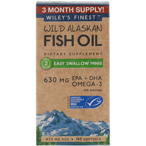 Wiley's Finest, Wild Alaskan Fish Oil, Easy Swallow Minis, 630 mg, 180 Softgels