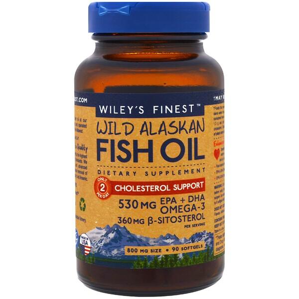 Аляскинский рыбий жир, поддержка уровня холестерина, 90 капсул в мягкой оболочке