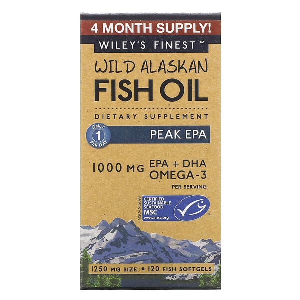 рыбий жир из дикого аляскинского лосося с максимальным содержанием ЭПК, 1000мг, 120рыбных капсул