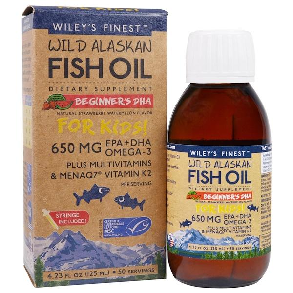 рыбий жир из аляскинской промысловой рыбы, для детей, ДГК для новичков, со вкусом натуральной клубники и арбуза, 650 мг, 125 мл (4,23 жидкой унции)