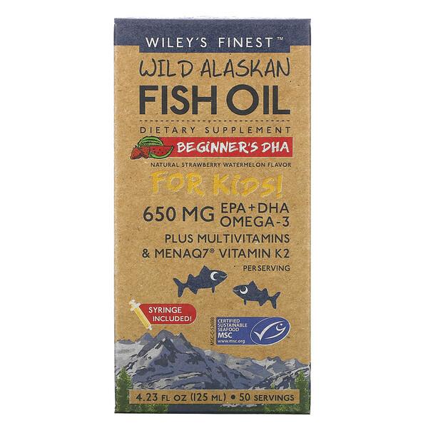 Wiley's Finest, жир диких аляскинских рыб, для детей, ДГК для начинающих, натуральный вкус клубники и арбуза, 650мг, 125мл (4,23жидк.унции)