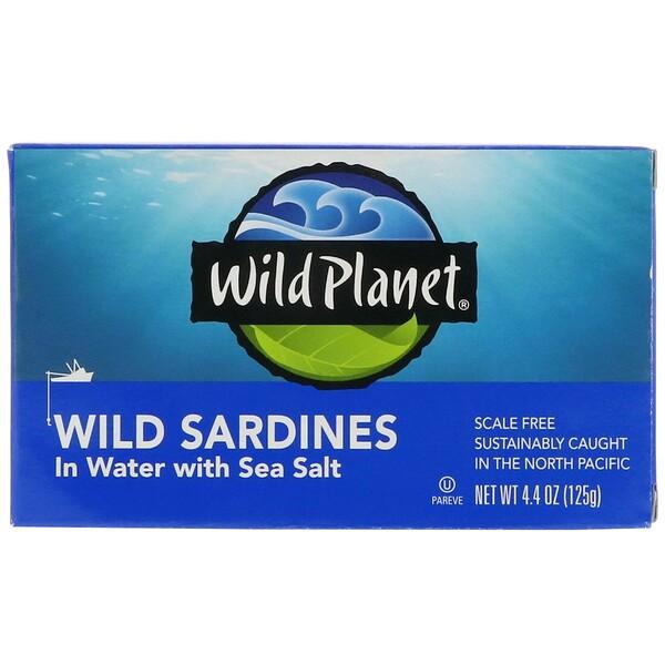 Дикие сардины в жидкости с морской солью, 4,4 унции (125 г)