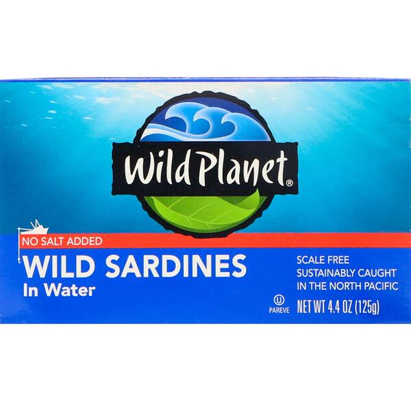 Сардины, выловленные в диких условиях, в воде, Без добавления соли, 4,4 унц. (125 г)