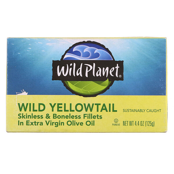 Wild Yellowtail Skinless & Boneless Fillets In Extra Virgin Olive Oil, 4.25 oz (120 g)