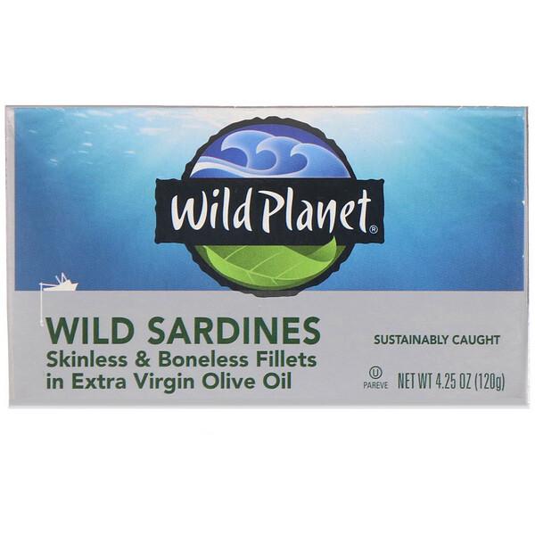 Wild Sardines Skinless & Boneless Fillets In Extra Virgin Olive Oil, 4.25 oz (120 g)