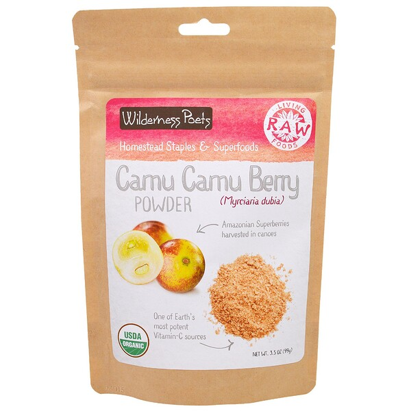 Living Raw Foods, Порошок Ягоды Камю Камю, 3,5 унции (99 г)
