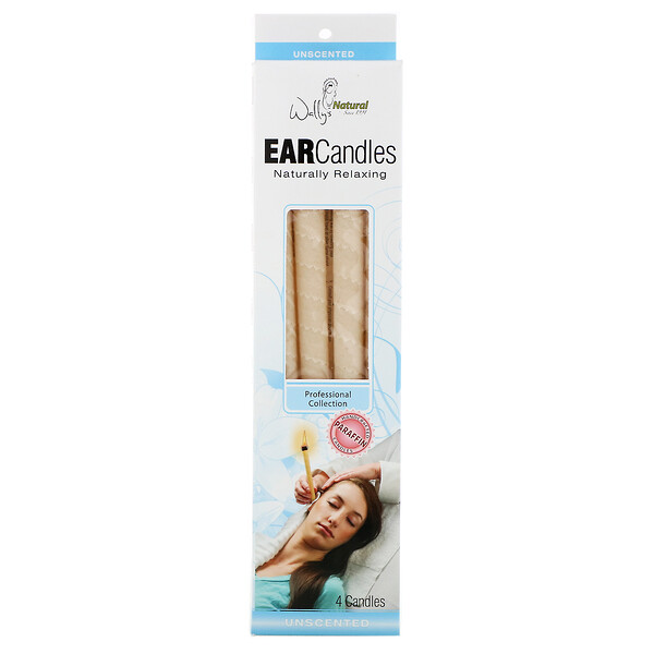 Professional Collection, Paraffin Ear Candles, Unscented, 4 Pack
