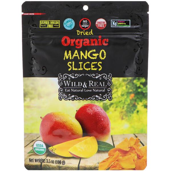 Nature's Wild Organic, Высушенные кусочки органического манго, 3.5 унц. (100 г)