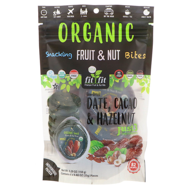 Nature's Wild Organic, Organic, Snacking Fruit & Nut Bites, Sun-Dried Date, Cacao & Hazelnut, 6 Pack, 0.88 oz (25 g) Each (Discontinued Item)