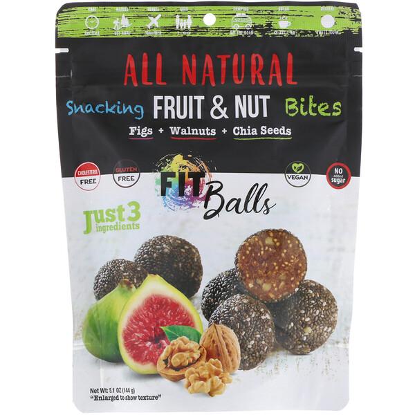 All Natural, закуски из фруктов и орехов, фит-шарики, инжир + грецкие орехи + семена чиа, 5,1 унции (144 г)