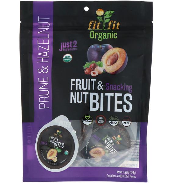 Nature's Wild Organic, Органические фрукты и закуски с орехами, черносливом и фундуком, 6 штук, 0,88 унц. (25 г) (Discontinued Item)