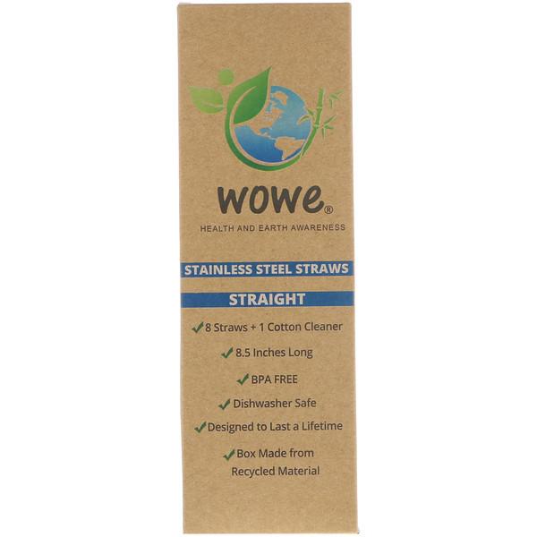 Wowe, Соломинки из нержавеющей стали, прямые, 8 соломинок + 1 очиститель из хлопка (Discontinued Item)