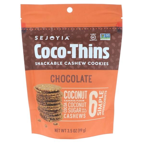 Sejoyia, Coco-Thins, печенье-закуска с кешью, шоколад, 99 г (Discontinued Item)