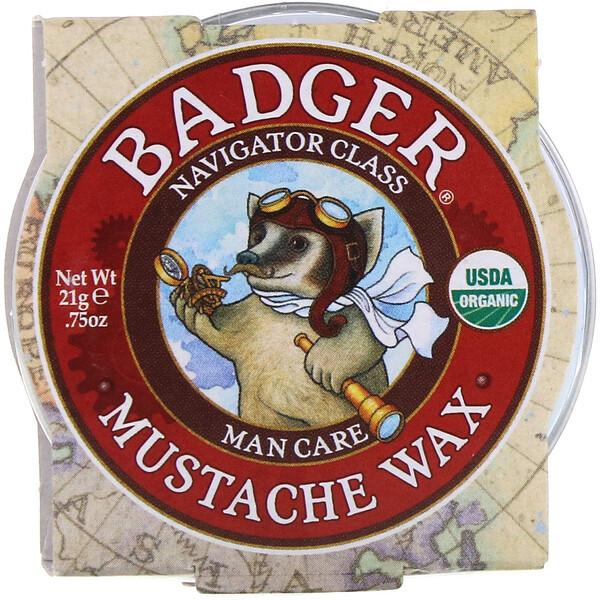Badger Company, Органический воск для усов, для мужчин, 0,75 унций (21 гр) (Discontinued Item)