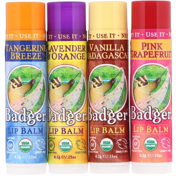Badger Company, Органические классические карандаши-бальзам для губ, зеленая коробка, 4карандаша-бальзама, 4,2г (0,15унции) каждый