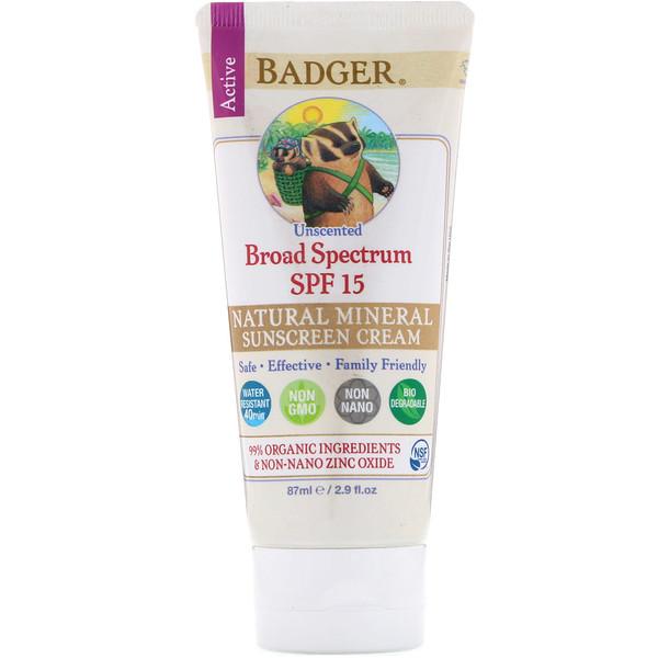 Badger Company, Солнцезащитный крем с оксидом цинка, широкий спектр SPF 15, без запаха, 2,9 жидких унций (87 мл)