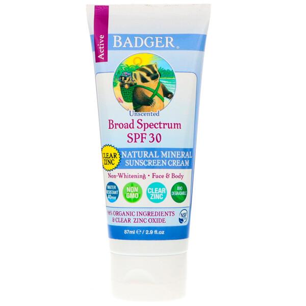 Натуральный минеральный солнцезащитный крем, прозрачный цинк, фактор защиты SPF 30, без запаха, 87 мл