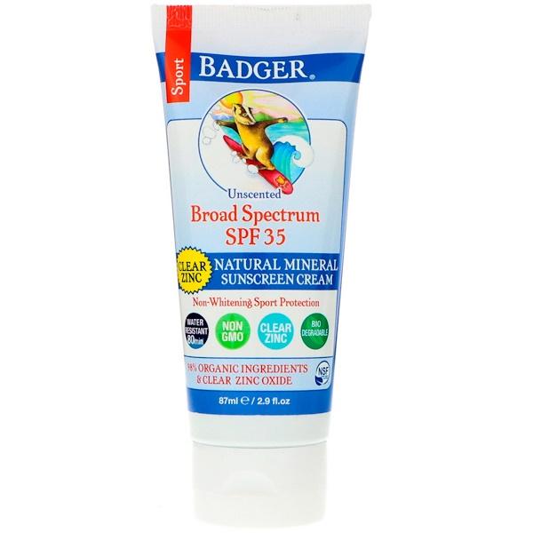Спорт, натуральный минеральный солнцезащитный крем, прозрачный цинк, фактор защиты SPF 35, без запаха, 87 мл
