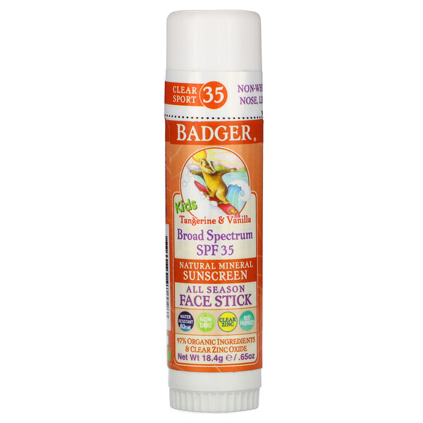 Kids, Natural Mineral Sunscreen Face Stick, SPF 35, Tangerine & Vanilla, 0.65 oz (18.4 g)