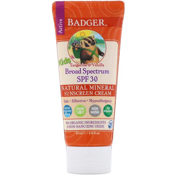Active Kids, Natural Mineral Sunscreen Cream, SPF 30 PA+++, Tangerine & Vanilla, 2.9 fl oz (87 ml)