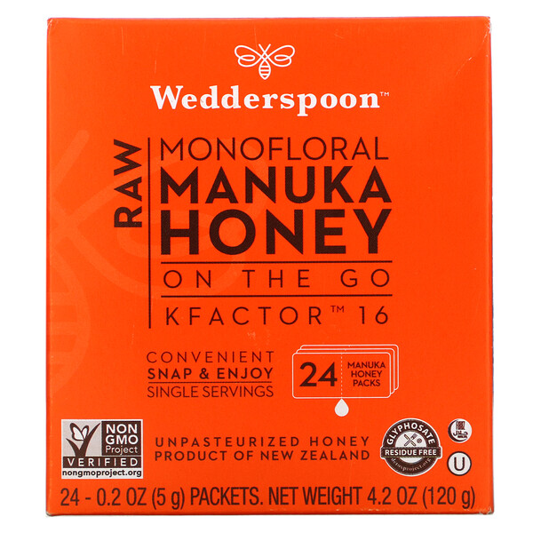 Wedderspoon, Raw Monofloral Manuka Honey, KFactor 16, 24 Packs, 0.2 oz (5 g) Each