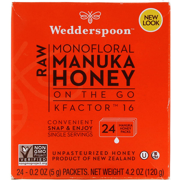 Raw Monofloral Manuka Honey, KFactor 16, 24 Packs, 0.2 oz (5 g) Each