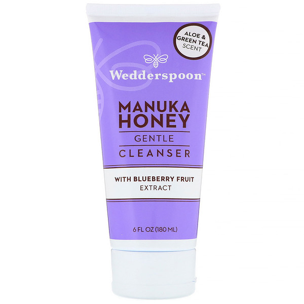 Wedderspoon, Manuka Honey, Gentle Cleanser, With Blueberry Fruit Extract, Aloe & Green Tea Scent, 6 fl oz (180 ml) (Discontinued Item)