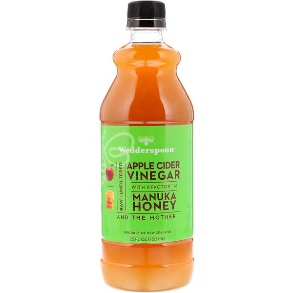 Яблочный уксус с KFactor 16, лесной мёд манука, 25 ж. унц. (750 мл)