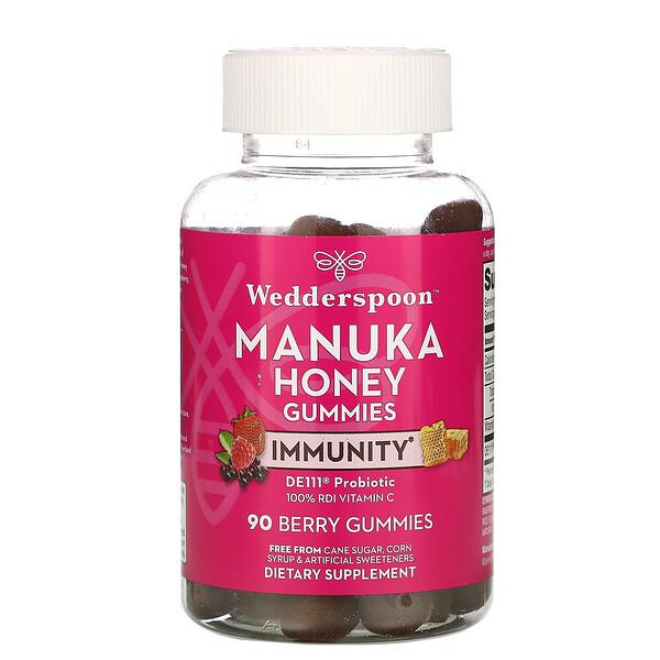 Wedderspoon, Manuka Honey, Immunity Gummies, Berry, 5 Billion CFU, 90 Gummies