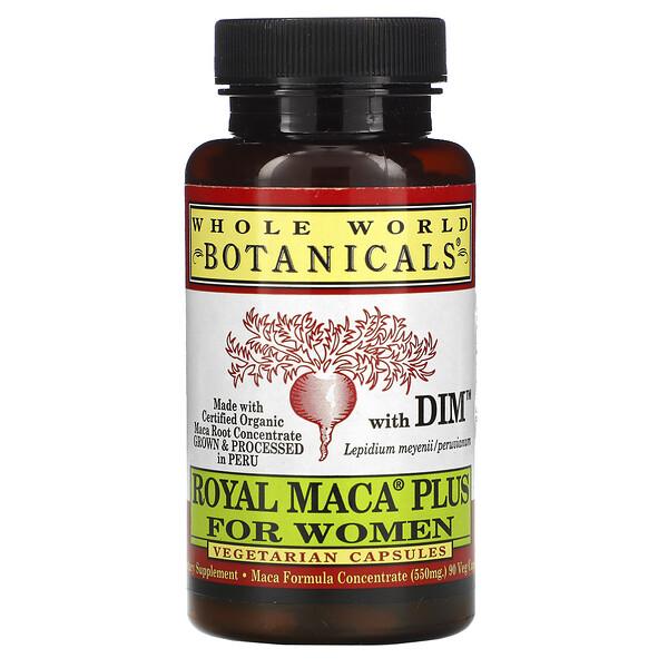 Whole World Botanicals, Royal Maca® Plus For Women, премиальная мака для женщин, 500 мг, 90 вегетарианских капсул