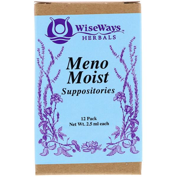 WiseWays Herbals, Свечи Meno Moist, 12 штук, 4,5 унции (2,5 мл) каждая
