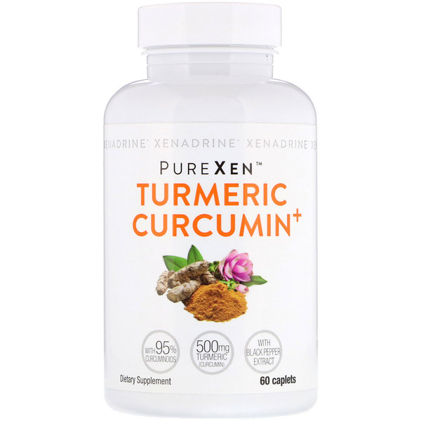 Xenadrine, PureXen, Turmeric Curcumin+, куркумин, 60капсуловидных таблеток