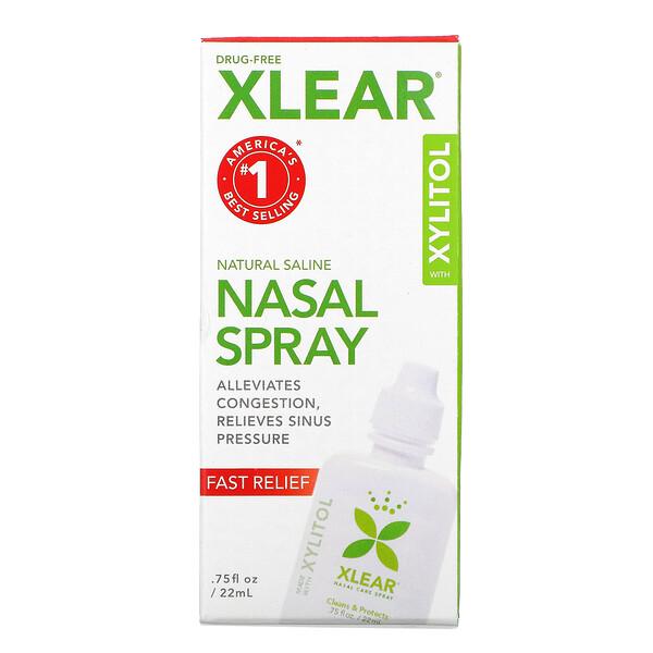 Xlear, натуральный солевой назальный спрей с ксилитолом, быстрого действия, 22мл (75жидк.унций)