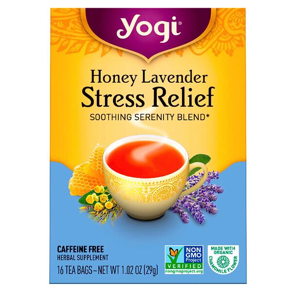 Органический, медовая лаванда, избавление от стресса, без кофеина, 16 чайных пакетиков, 1,02 унц. (29 г)