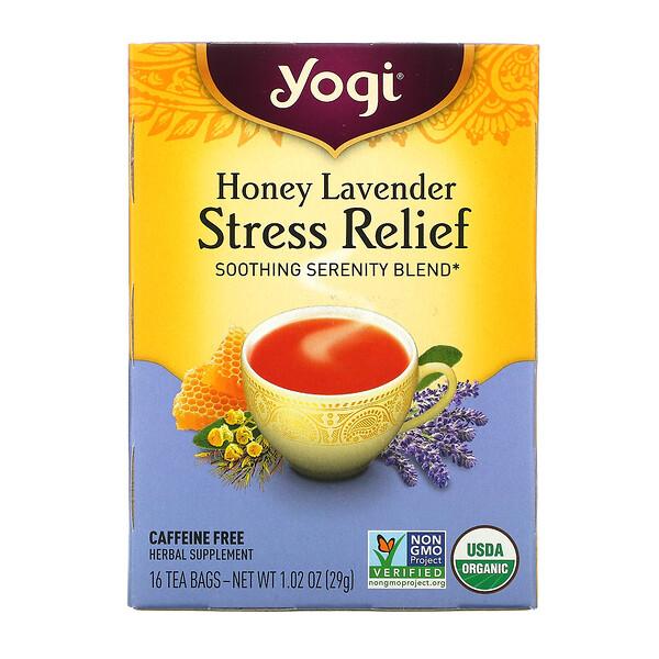 Yogi Tea, Stress Relief, мед и лаванда, без кофеина, 16чайных пакетиков, 29г (1,02унции)