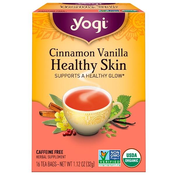 Yogi Tea, Здоровая кожа, без кофеина, корица и ваниль, 16 чайных пакетиков, 1,12 унции (32 г) (Discontinued Item)