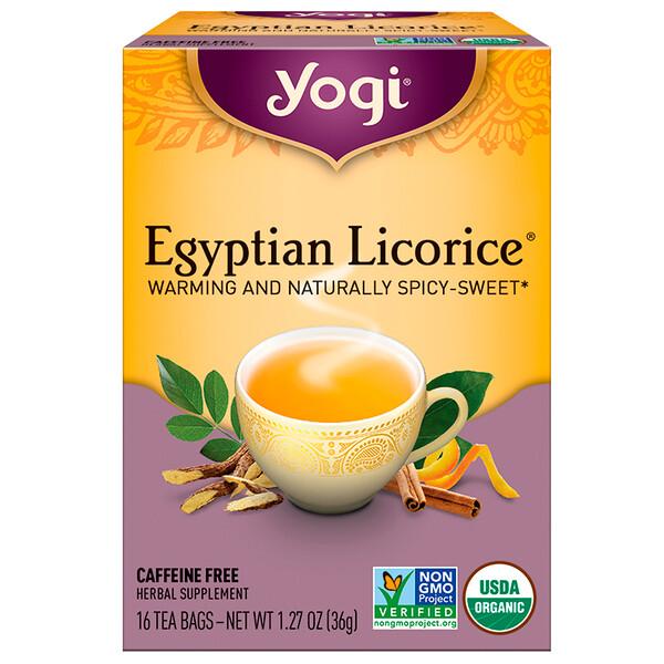 Yogi Tea, Egyptian Licorice (Египетская лакрица), без кофеина, 16 чайных пакетиков, 36 г (1,27 унции)