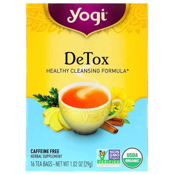 Detox, без кофеина, 16 чайных пакетиков, 29 г