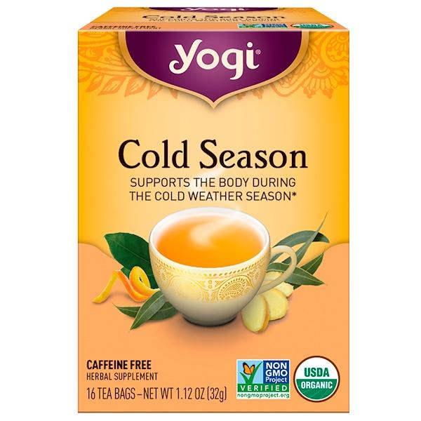 Органический, Cold Season, без кофеина, 16 чайных пакетиков, 1.12 унций (32 г)
