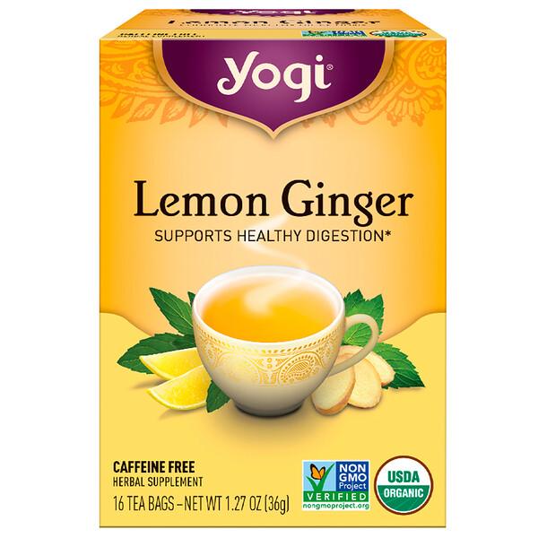 Lemon Ginger, без кофеина, 16 чайных пакетиков, 36 г (1,27 унции)