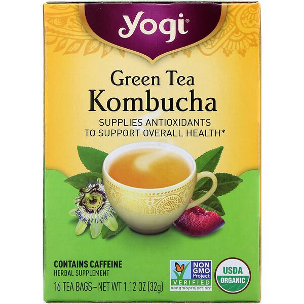Органический зеленый чай комбуча, 16 чайных пакетиков, 32 г (1,12 унции)