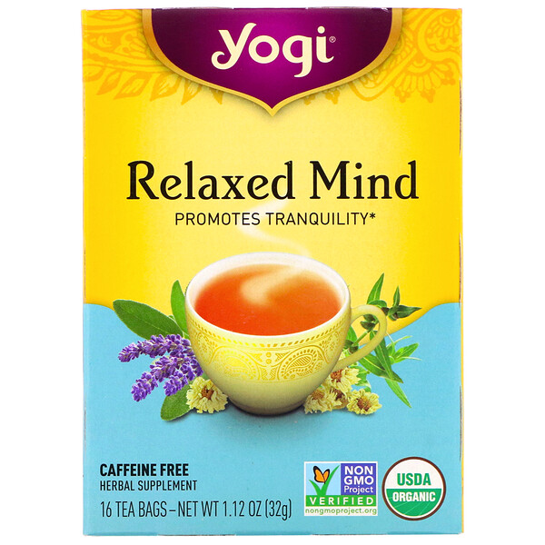 Relaxed Mind, органический чай, без кофеина, 16 чайных пакетиков, 32г (1,12унции)